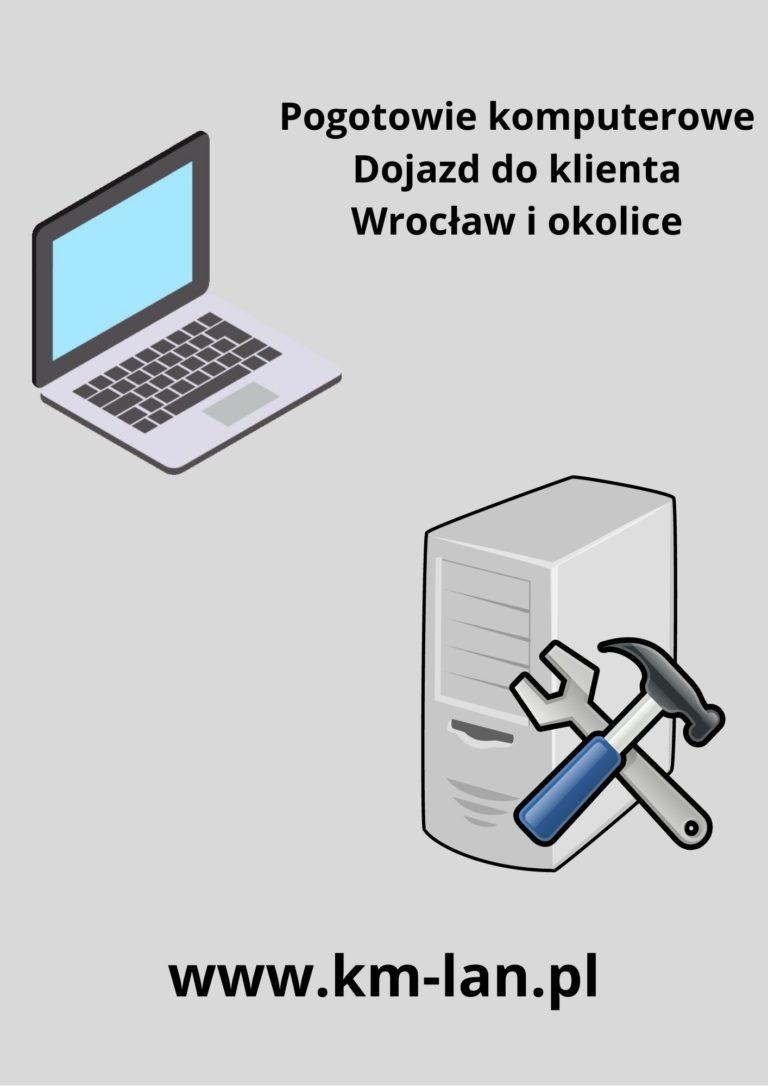 napis pogotowie komputerowe na zdjeciu obrazek laptopa i komputera pc