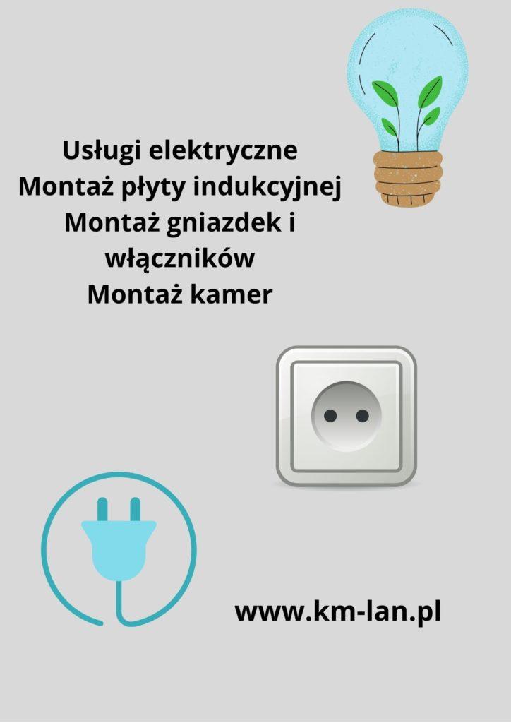 usługi elektryczne na obrazku gniazdko elektryczne i żarówka